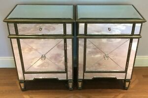 Pair Large Mid Century Style Mirrored Modern Nightstands Night Bed Stands Tables