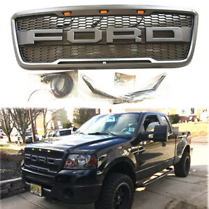New 2004 2008 Gray Raptor Style Front Hood Grille For Ford F150 With Letters