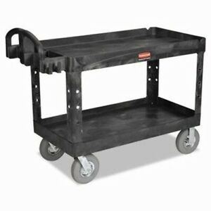 Rubbermaid 4546 Heavy duty Large Utility Cart W 2 Shelves Black rcp 4546 Bla