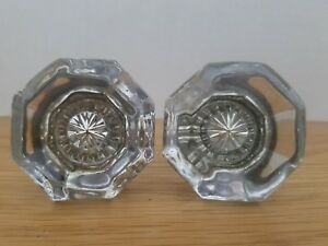 Antique Vintage Glass Door Knobs Lot Of 2 Matching Pair Octagon