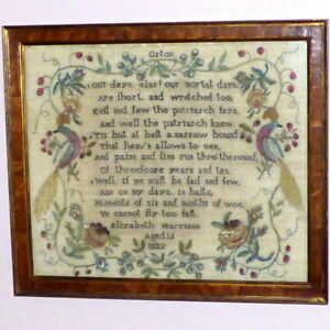 George Iv Early 19th Century Silkwork Sampler With Peacocks Dated 1822