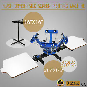 4 Color Screen Printing 2 Station Kit 16 X 16 Flash Dryer Press Wood Cutting