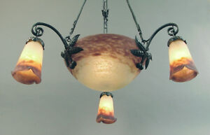 A French Art Glass And Hand Wrought Muller Chandelier Bowl 3 Shades Ca 1915