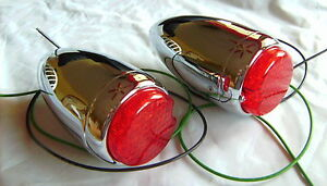 1939 Chevrolet Chrome Led Tail Lights With Housing That Fits 39 Chevy Hot Rod
