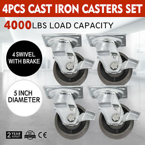 5 Swivel Cast Iron Casters W brakes Set Of 4 Freight Terminals Heavy Duty