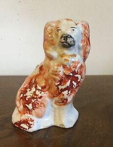 Small Antique Staffordshire Pearlware King Charles Spaniel Dog Figure 19th C