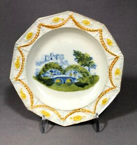 Early 19th Century English Pottery Pearlware Prattware Childs Plate