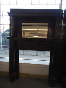 Vintage Antique Fireplace Mantel Mantle With Beveled Mirror Columns Design