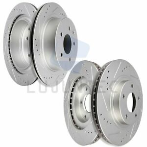 Front Rear Discs Brake Rotors For 2002 2003 2004 2005 G35 350z Drilled