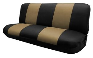 Black Beige Full Size Bench Seat Cover Fit Most Vintage Classic Car