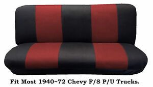 Mesh Black Red This Seat Cover Fit Most 1940 72 Chevy Full Size Trucks Models
