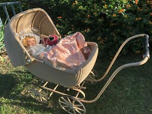 Antique Pram Baby Buggy Full Size Wicker Vintage Horseman Doll Included