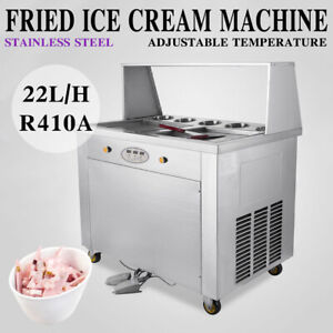 Temperature Control 2 Pan Fried Ice Cream Maker Roll Ice Cream Machine pick up