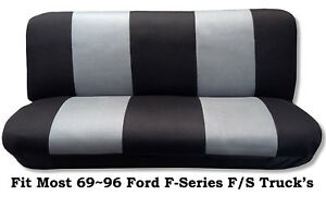 Black Gray Full Size Bench Seat Cover Fits Most 69 96 Ford F Series F S Trucks