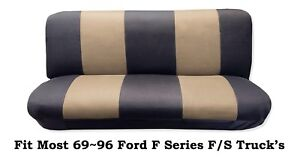 Black Beige Full Size Bench Seat Cover Fit Most 69 96 Ford F Series F S Trucks