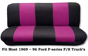 Black Pink Full Size Bench Seat Cover Fits Most 69 96 Ford F Series F S Trucks