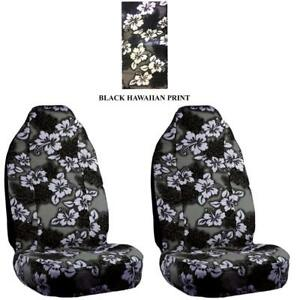 Deluxe Black Hawaiian Print High Back Seat Covers For Suv S Cars And Trucks