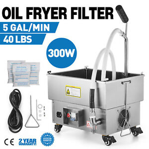 22l Oil Filter Oil Filtration System 5 8 Gallons Cart Fryer Filter 44lbs 300w