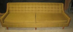 Vintage Mid Century 7 6 Long Two Cushion Surfboard Sofa Wakefield