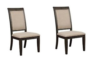 Modern Style Dining Side Chairs Upholstery Fabric Seating 2p Set Burnished Black