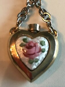 Antique Perfume Bottle With Dauber Fleur De Lis Heart Pin Brooch Vgc Unique Rare