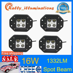 4x 24w Square Led Cube Pods Work Light Flush Mount Offroad Fits Truck Flood Boat