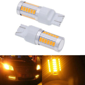 2x T20 6500k Yellow 7440 7443 5630 33smd Led Car Backup Reverse Lights Bulb