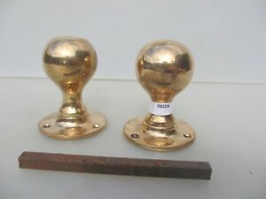 Antique Bronze Door Knobs Handles Vintage Plates Old Edwardian Brass