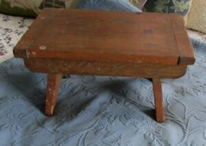Antique Primitive Wooden Footstool Or Bench With Bread Board Ends