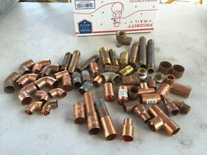 Lot Of Copper Or Brass Pipe Fittings Tees Elbows Caps Threaded Etc
