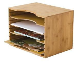 Lipper International 811 Bamboo Wood File Organizer With 4 Dividers 12 3 4 X 9