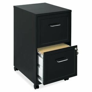 Lorell Soho 2 drawer Mobile File Cabinet 18 Black Steel llr16872