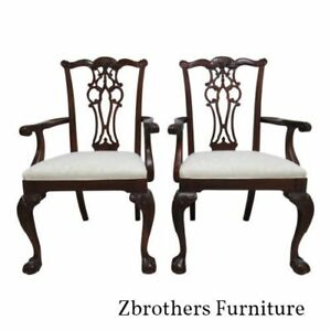 Ethan Allen 18th Century Dining Room Arm Chairs Mahogany Ball Claw Chippendale