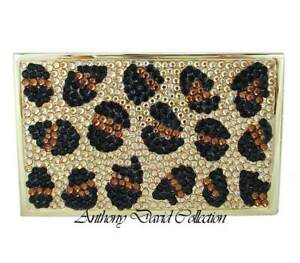 Anthony David Leopard Crystal Business Card Case With Swarovski Crystals