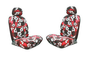 Red Hawaiian Hibiscus Print Low Back Seat Covers Fit Most Suv s cars