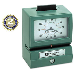 Acroprint Model 125 Analog Manual Print Time Clock With Date 0 23 Hours minutes
