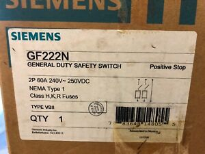 Siemens General Duty Safety Switch Gf222n 60 Amp Fusible Nema 1