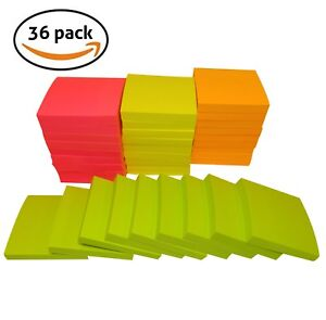 Sticky Notes 3 X 3 100 Sheets pad 4 Bright Colors best Value pack Of 36