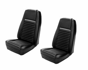 1969 Mach I Highback Seat Cover Upholstery Set Front Black W Gray Stripe