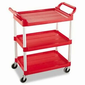 Rubbermaid 342488 Service Cart With 3 Shelves Red rcp342488red