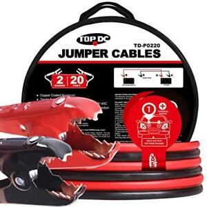 Topdc Battery Jumper Cables 2 Gauge 20 Feet 450amp Heavy Duty Booster Cables Bag