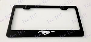 Mustang Pony Stainless Steel Metal Black License Plate Frame Rust Free W Caps