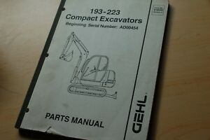 Gehl 193 223 Excavator Trackhoe Track Crawler Parts Manual Book Catalog Spare