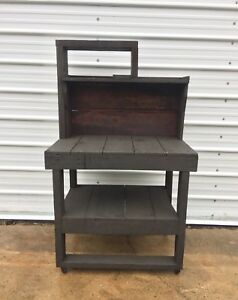 Antique Workbench Vtg Wood Industrial Hutch Table Desk Garden Potting Bench Old