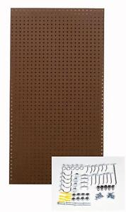 Brown Tempered Pegboard With 36 Pc Locking Hooks 2 piece Round Holes Hardboard