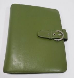 Franklin Covey Olive Green Leather Planner Organizer 7 Ring Snap Buckle W Pages