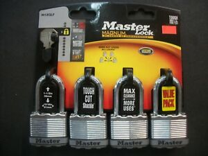 4 Pack Master Lock Magnum M1xqlf Pad Lock Stainless Steel Security Level 8