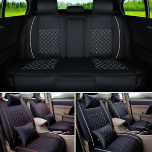 Leather Car Seat Cover Full Set Front Rear Seat Cushion Mat Protector Universal
