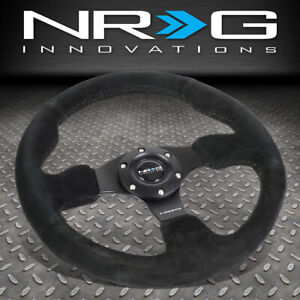 Nrg Reinforced 320mm Aluminum Type r Black Suede Steering Wheel W horn Button