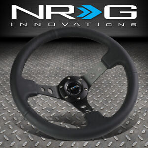 Nrg Reinforced 350mm Aluminum Black Leather 3 deep Dish Racing Steering Wheel